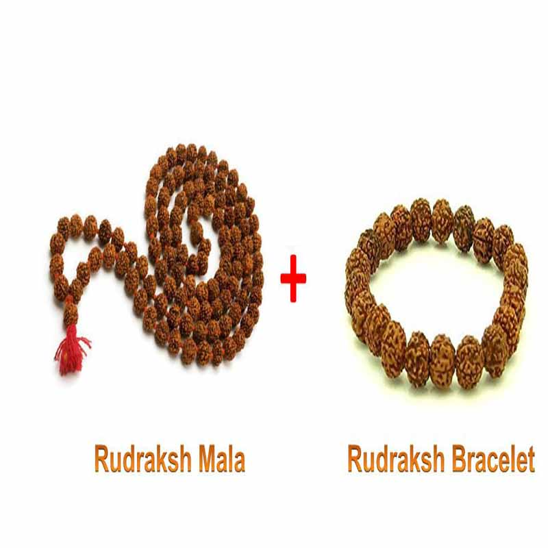 Rudraksha Mala and Rudraks Bracelet with Adjustable