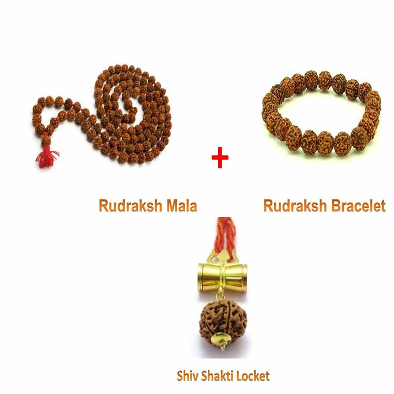 Rudraksha Mala and Shiv Shakti Locket and Rudraksha Bracelet combo