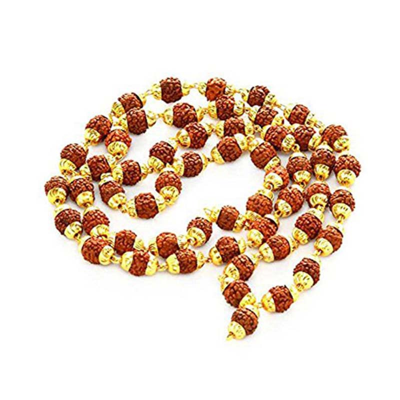 Rudraksha Mala With Golden Cap, 108 Beads (6mm)