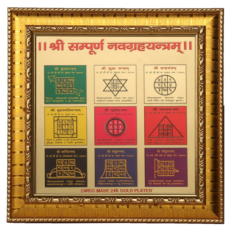 Navgraha Yantra With Frame 8inch  * 8inch